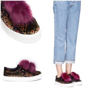 Sam Edelman Leya Pompom Velvet Slip-On Sneakers